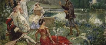 Salvatore Postiglione (1861–1906). Escena de la narración del Decamerón.