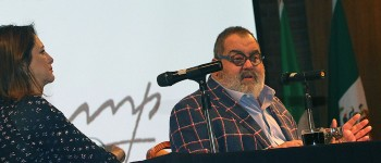 Jorge Lanata durante su charla en el Congreso Internacional de Mujeres Periodistas y Escritoras. Foto de ANMPE Chile.