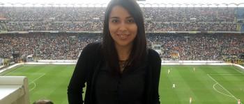 Giuseppina Lobos en el estadio Giusepep Meazza en Italia.