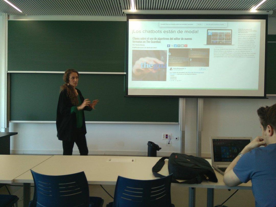 María Crosas  durante la asignatura de nuevas narrativas para el periodismo del MIP.