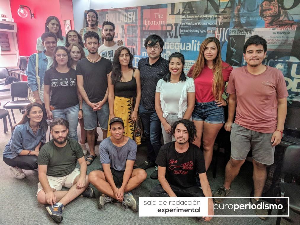 Parte del equipo 2018 de Puroperiodismo. Foto: Patricio Contreras