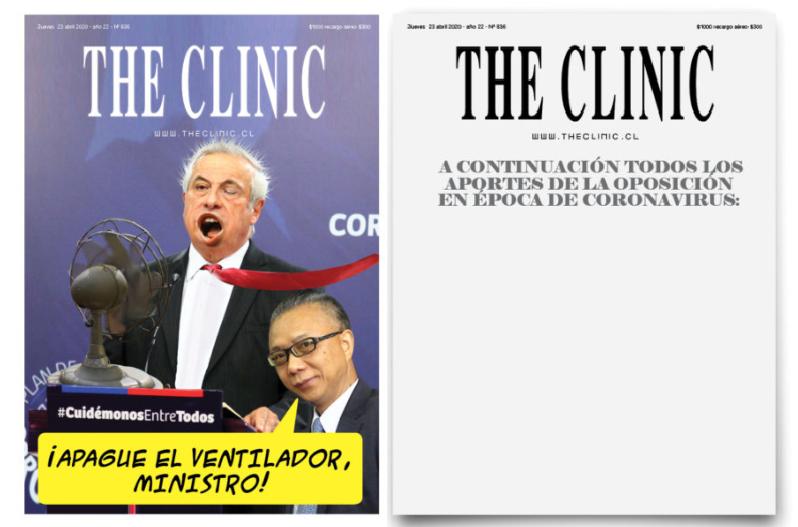 Portada y contraportada de la tercera edición especial online que lanzó The Clinic durante su cuarentena voluntaria.