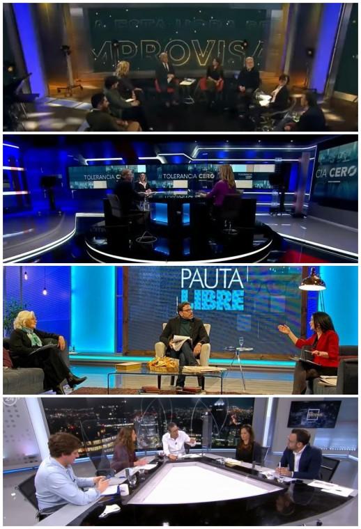 De arriba a abajo: A esta hora se improvisa (Canal 13), Tolerancia Cero (CNN Chile/CHV), Pauta Libre (La Red) y Estado NAcional (TVN/24 Horas)