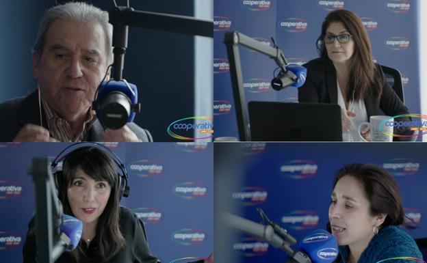 Algunos conductores emblemáticos de Cooperativa: Sergio Campos, Verónica Franco, Paula Molina y Paula Bravo.