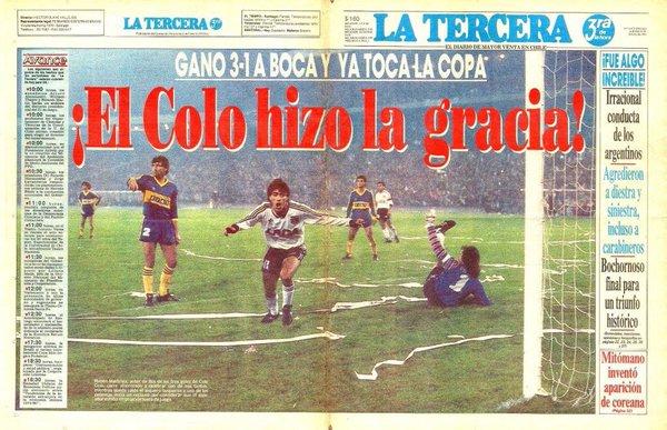 Portada del diario La Tercera tras el triunfo de Colo Colo en semifinales frente a Boca Juniors.